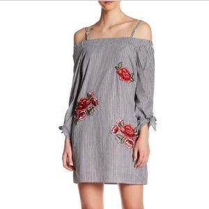 Romeo & Juliet Couture Striped Cold Shoulder Dress